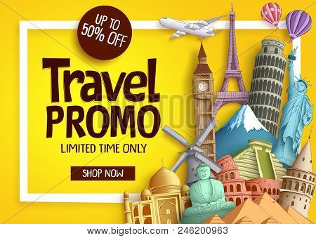 Travel Promo Vector Banner Template With Discount Text And Famous Tourist Landmarks Elements In A Fr