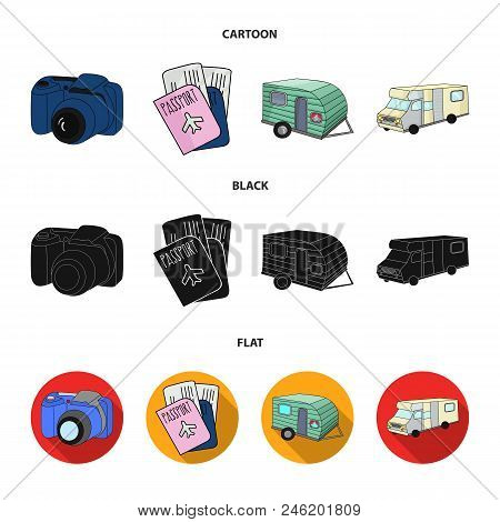 Vacation, Photo, Camera, Passport .family Holiday Set Collection Icons In Cartoon, Black, Flat Style
