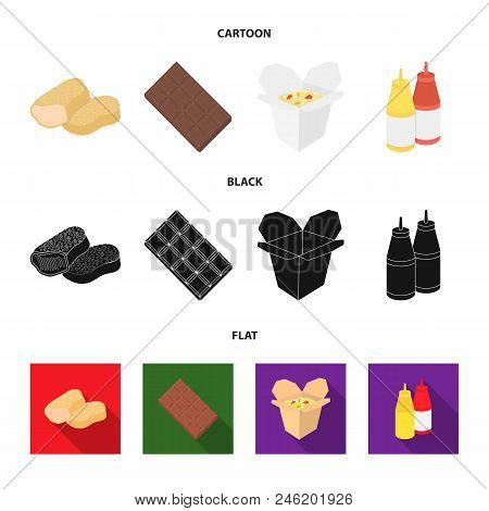 Chocolate, Noodles, Nuggets, Sauce.fast Food Set Collection Icons In Cartoon, Black, Flat Style Vect