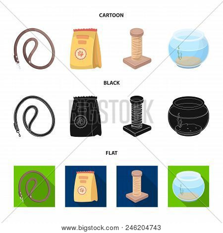 Leash, Feed And Other Zoo Store Products.pet Shop Set Collection Icons In Cartoon, Black, Flat Style