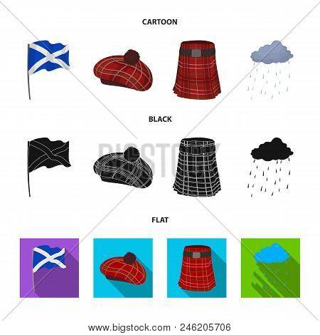 Flag, Kilt, Rainy Weather, Cap.scotland Country Set Collection Icons In Cartoon, Black, Flat Style V