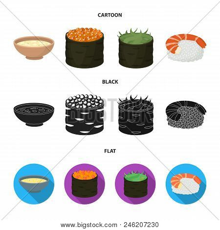 Bowl Of Soup, Caviar, Shrimp With Rice. Sushi Set Collection Icons In Cartoon, Black, Flat Style Vec