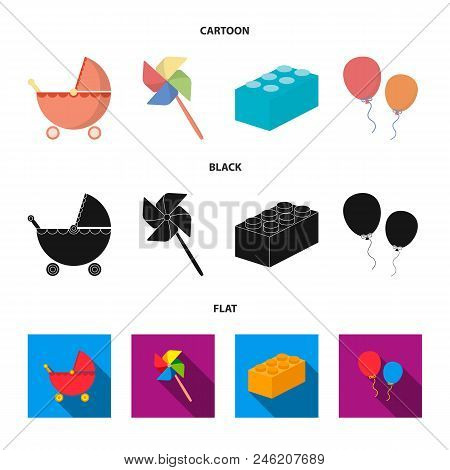 Stroller, Windmill, Lego, Balloons.toys Set Collection Icons In Cartoon, Black, Flat Style Vector Sy