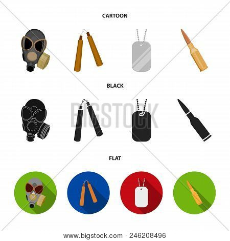 Gas Mask, Nunchak, Ammunition, Soldier Token. Weapons Set Collection Icons In Cartoon, Black, Flat S