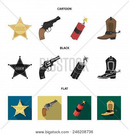 Star Sheriff, Colt, Dynamite, Cowboy Boot. Wild West Set Collection Icons In Cartoon, Black, Flat St