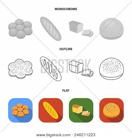 Cut Loaf, Bread Roll With Powder, Half Of Bread, Baking.bread Set Collection Icons In Flat, Outline,