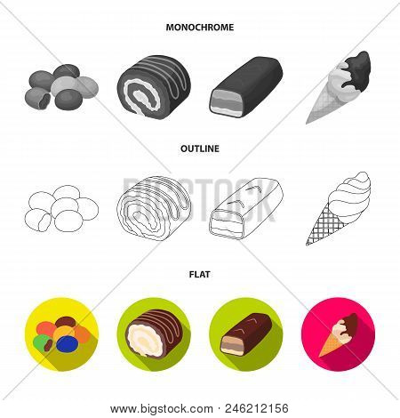 Dragee, Roll, Chocolate Bar, Ice Cream. Chocolate Desserts Set Collection Icons In Flat, Outline, Mo