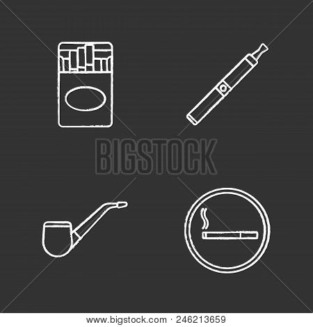Cigarette pack e-cigarette tobacco pipe smoking area. Isolated vector chalkboard illustrations  sc 1 st  Bigstock & Smoking Chalk Icons Vector u0026 Photo (Free Trial) | Bigstock