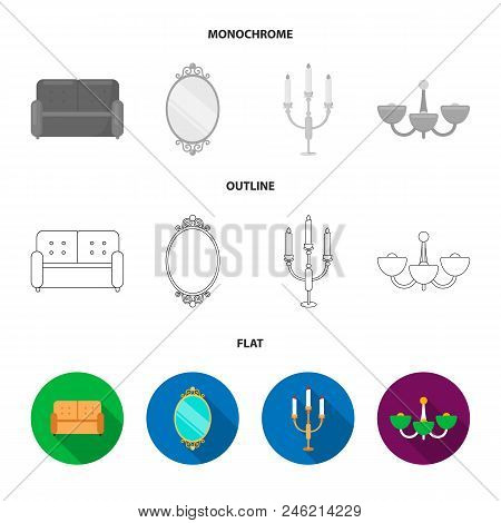 Sofa, Mirror, Candlestick, Chandelier.furniturefurniture Set Collection Icons In Flat, Outline, Mono