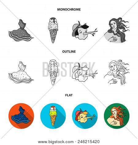 Italian Dress, Gelato, Pinocchio, Goddess Of Love. Italy Set Collection Icons In Flat, Outline, Mono
