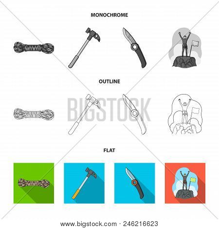 Climber On Conquered Top, Coil Of Rope, Knife, Hammer.mountaineering Set Collection Icons In Flat, O