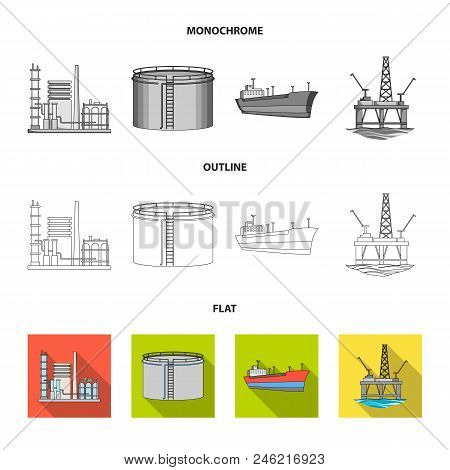 Oil Refinery, Tank, Tanker, Tower. Oil Set Collection Icons In Flat, Outline, Monochrome Style Vecto