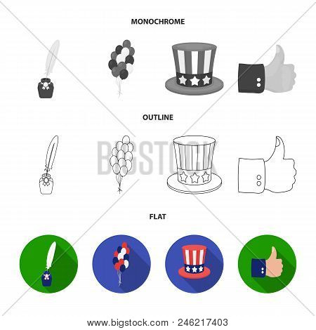 Balloons, Inkwell With A Pen, Uncle Sam Hat. The Patriot Day Set Collection Icons In Flat, Outline,
