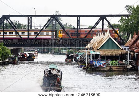 Bangkok, Thailand May 20, 2018 :- Taling Chan Floating Market This Place Is A Small Market A Good Pl