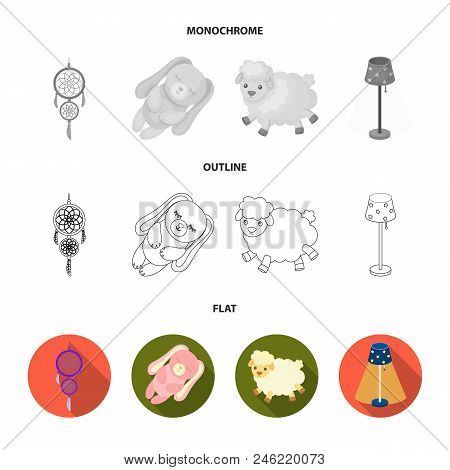 Dream Catcher, Soft Toy Sheep And Rabbit, Floor Lamp. Rest And Sleep Set Collection Icons In Flat, O