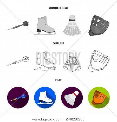 Darts Darts, White Skate Skates, Badminton Shuttlecock, Glove For The Game.sport Set Collection Icon