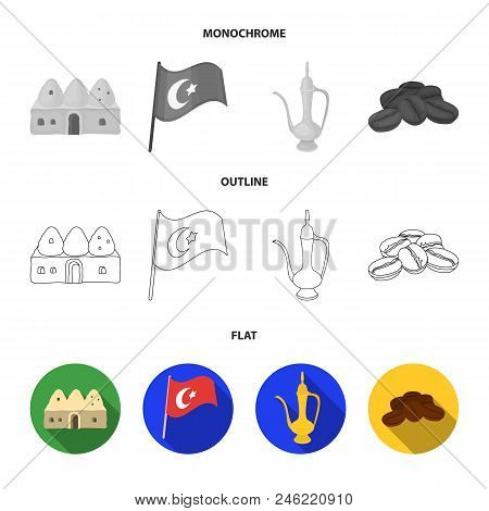 House Hive, National Flag, Coffee Pot Copper, Grains Coffee.turkey Set Collection Icons In Flat, Out