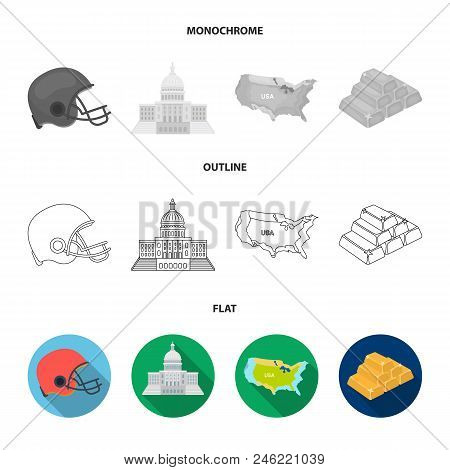 Football Player Helmet, Capitol, Territory Map, Gold And Foreign Exchange. Usa Country Set Collectio