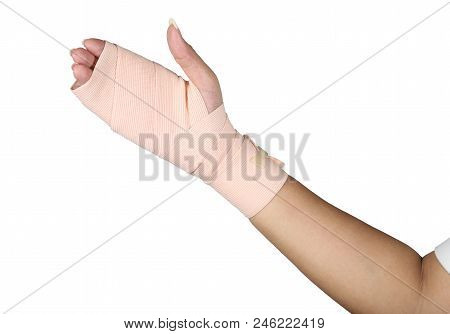 Arm splint, hand bandage, gauze bandage patient with Asian girl hand wrap injury isolated on white background. poster
