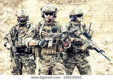 Group Portrait Of Us Army Elite Members, Private Military Company Servicemen, Anti Terrorist Squad F
