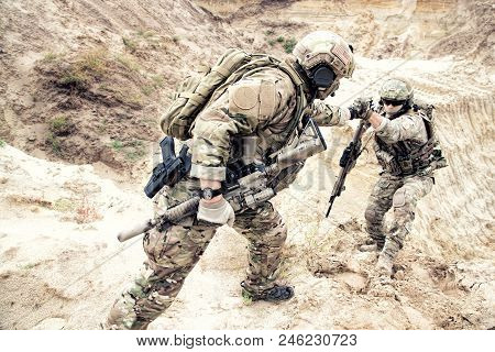 Us Ranger, Modern Infantryman, Special Reconnaissance Team Member Or Military Scout In Ammunition, A