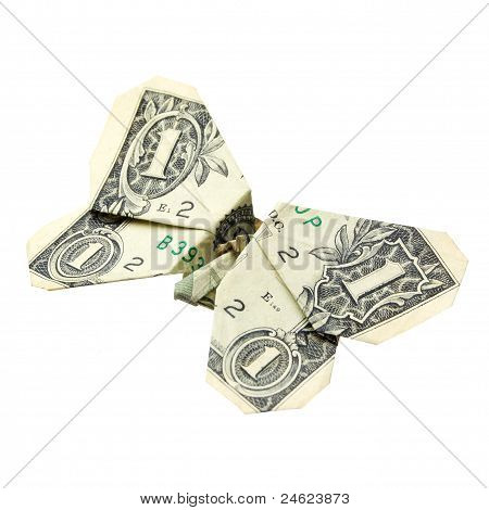 One Dollar Origami. Isolated