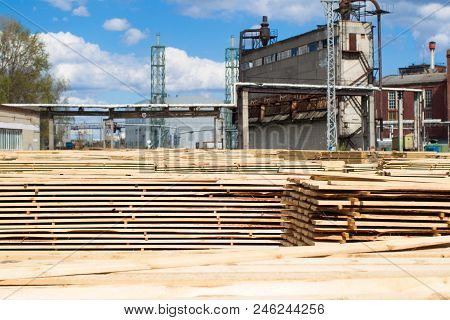 Woodworking Plant. Wood Processing Industry.folded Boards Of Felled Trees In A Wood Processing Plant