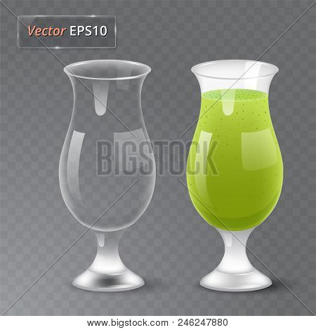 Juice And An Empty Glass. Fruit Organic Drink. Healthy Diet. Clean Eating. Transparent Photo Realist