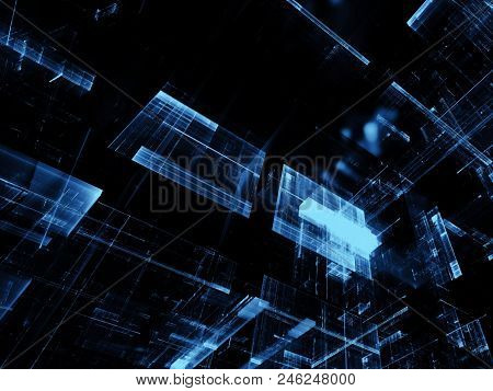 Glass Blocks - Technology Background. Abstract Computer-generated Image. Fractal Art - Futuristic St