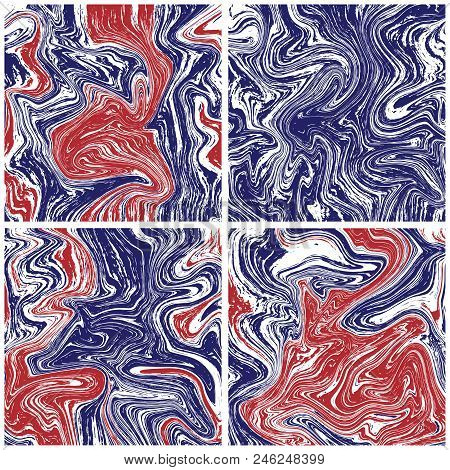 Marble Texture Background In American Colors. Ink Tile. Stock Vector