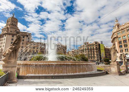Barcelona - March, 2018: Fountain At Placa De Catalunya In Barcelona Spain