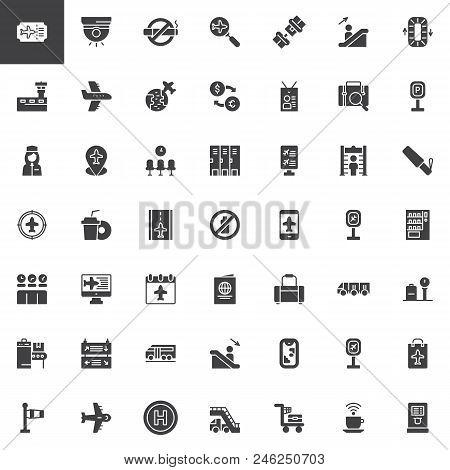 Airport Vector Icons Set, Modern Solid Symbol Collection, Filled Style Pictogram Pack. Signs, Logo I