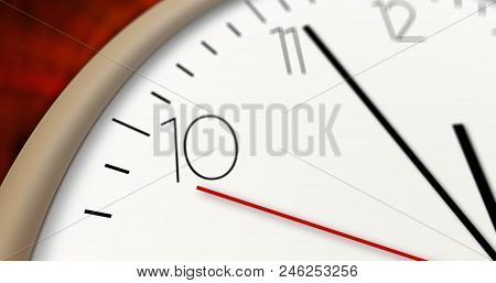 Modern Style Clock 3d Illustration. Timer, Second Hand And Minute Hand With Big Numerals.