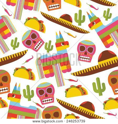 Seamless Pattern With Pinata, Sombrero Hat, Scull, Taco And Cactus. Design Dedicated To Mexica And M