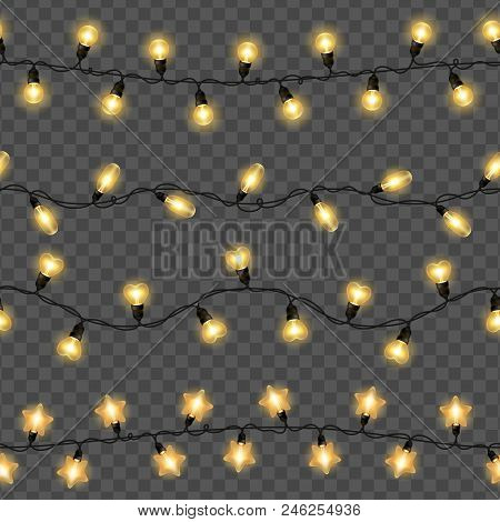Yellow Christmas Lights Isolated On Transparent Background. Vector Illustration. Glowing Bulbs For X