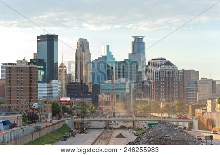 Minneapolis Skyline From 24th Street Pedestrian Bridge Overlooking 35w Interstate Into Downtown Show