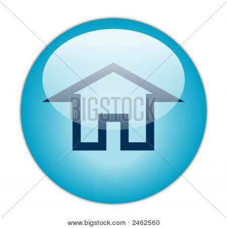 The Glassy Aqua Blue Home Icon Button