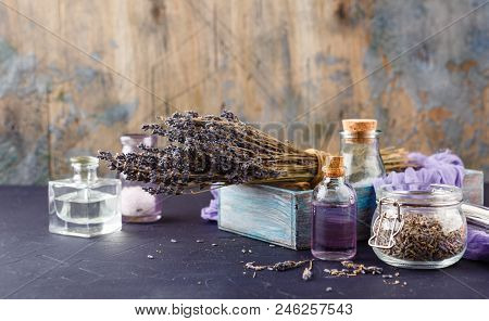Lavender Set - A Bouquet Of Dry Lavender, Essential Oil, Cosmetic Salt. Spa Theme, Relaxation And Be