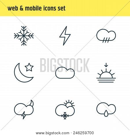 Vector Illustration Of 9 Sky Icons Line Style. Editable Set Of Sunset, Snowstorm, Star And Other Ico