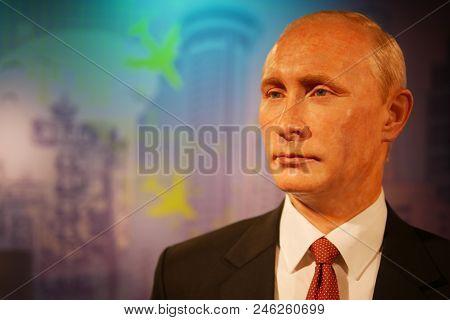 Bangkok, Thailand - December 21, 2017: A Waxwork Of Vladimir Putin,president Of The Russian Federati
