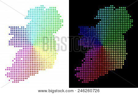Spectrum Dotted Ireland Island Map. Vector Geographic Plan In Bright Spectrum Colors With Circular G