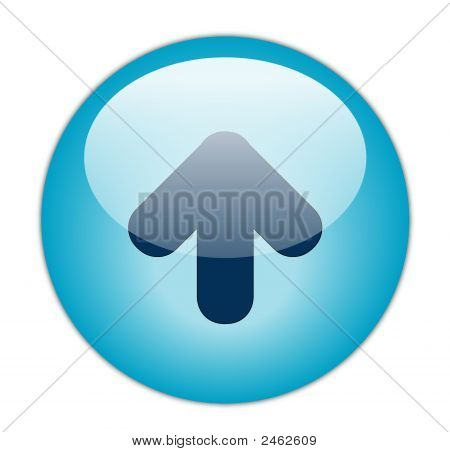 The Glassy Aqua Blue Up Icon Button