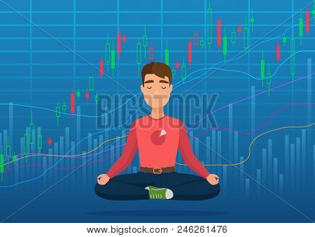 Young Man Trader Under Crypto Or Stock Market Exchange Chart Concept. Business Trader, Finance Stock