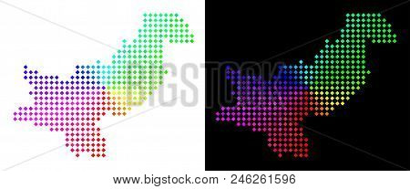 Spectrum Dot Pakistan Map. Vector Territory Map In Bright Spectrum Colors With Circular Gradient On