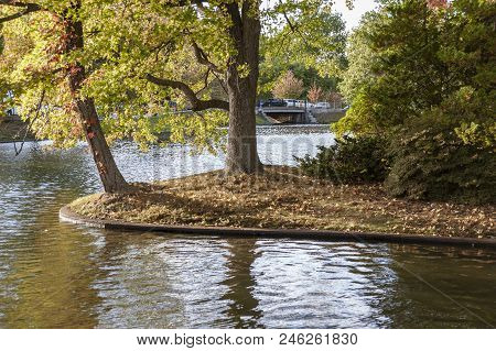 Tiny Point Of Land Along Shoreline Of Polo Lake In Roger Williams Park