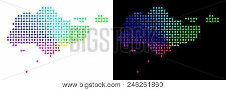 Spectrum Dotted Singapore Map. Vector Territorial Plan In Bright Spectrum Colors With Circular Gradi