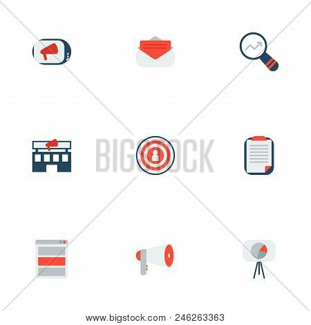 Set Of Advertising Icons Flat Style Symbols With Promotion, Advertising Agency, Client Brief And Oth