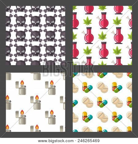 Medical Drugs Icons Seamless Pattern Background Vector. Laboratory Science Alcohol Clinic Medication