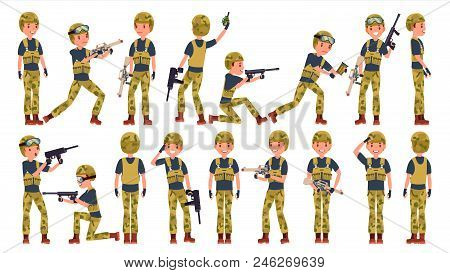 Soldier Man Set Vector. Poses. Army Person. Camouflage Uniform. Shooter. Saluting. Cartoon Military