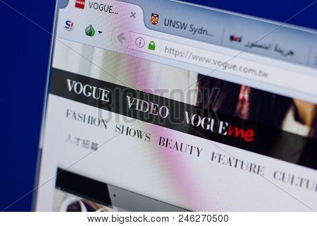 Ryazan, Russia - June 17, 2018: Homepage Of Vogue Website On The Display Of Pc, Url - Vogue.com.tw